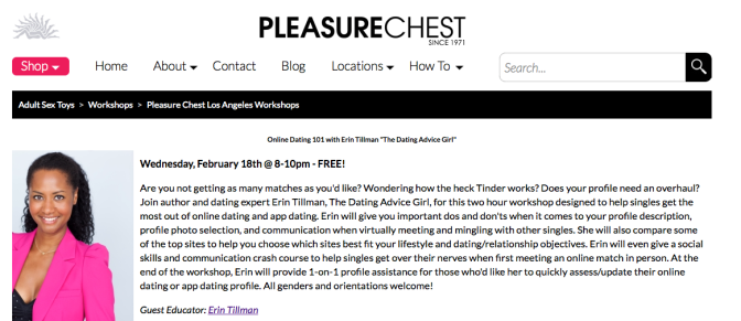 Singles! Join me Wed Feb 18 @PleasureChestLA for my Online #Dating workshop