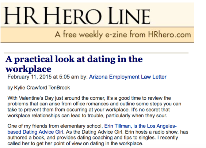 The Dating Advice Girl talks about #dating in the #workplace with @HRHero